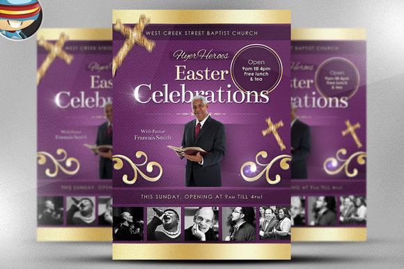 Easter celebrations flyer template flyer templates on for Free flyer templates for church events