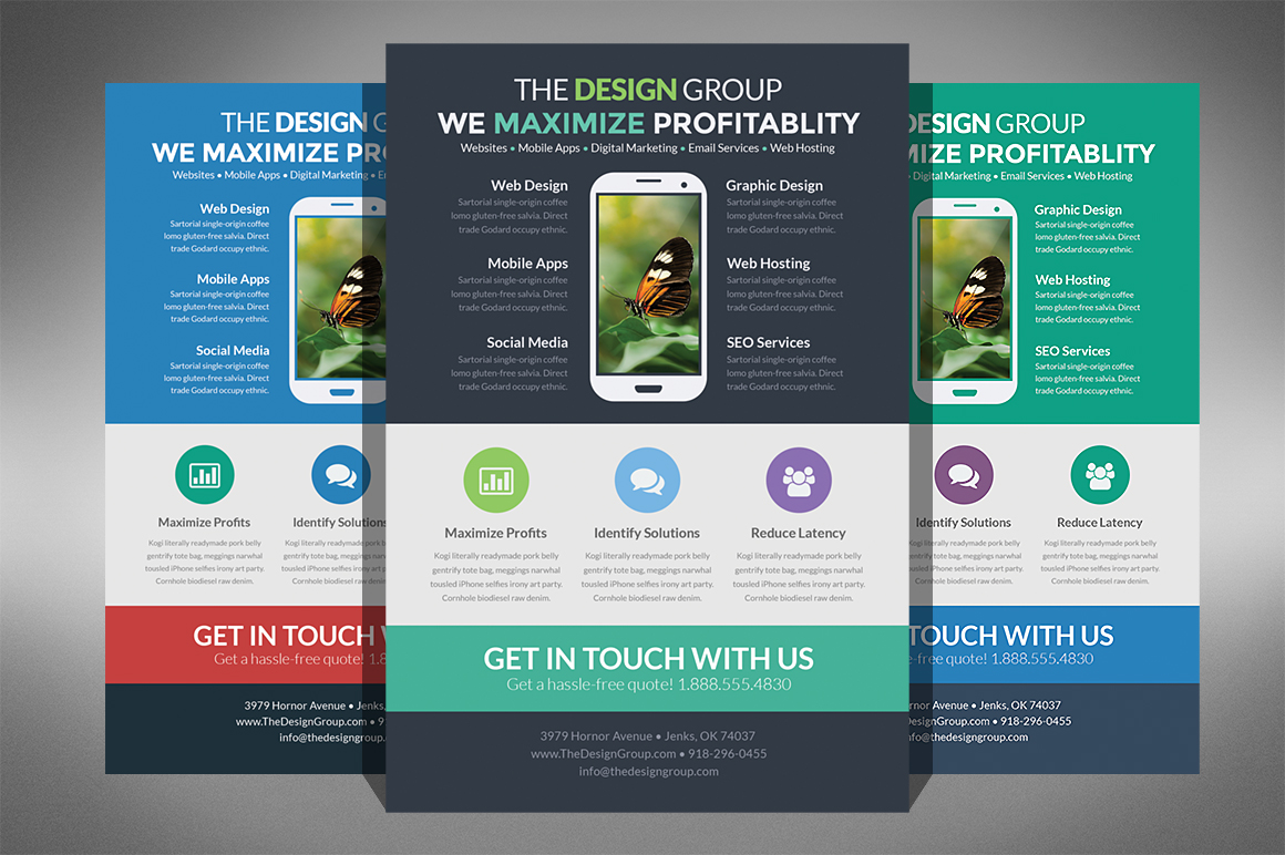 Flat design business flyer flyer templates on creative for Product design inc