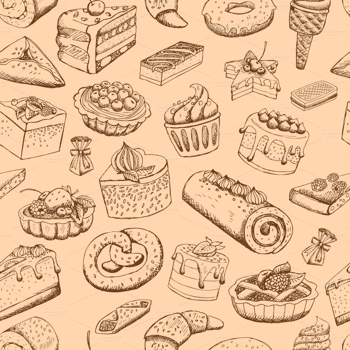 Seamless Pastries Patterns Illustrations On Creative Market