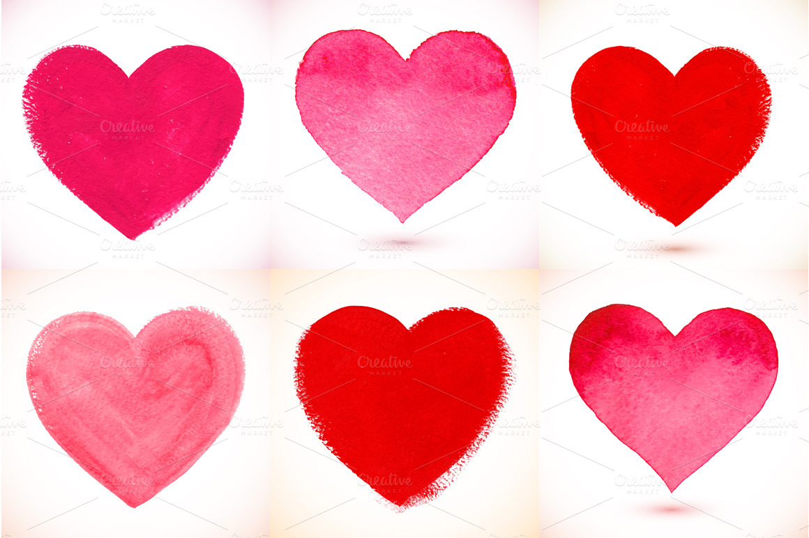 36 watercolor painted vector hearts ~ Textures on Creative ...