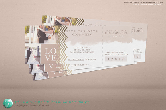 2x5 5 save the date love ticket psd