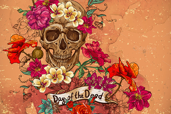 skull with flowers day of the dead illustrations on
