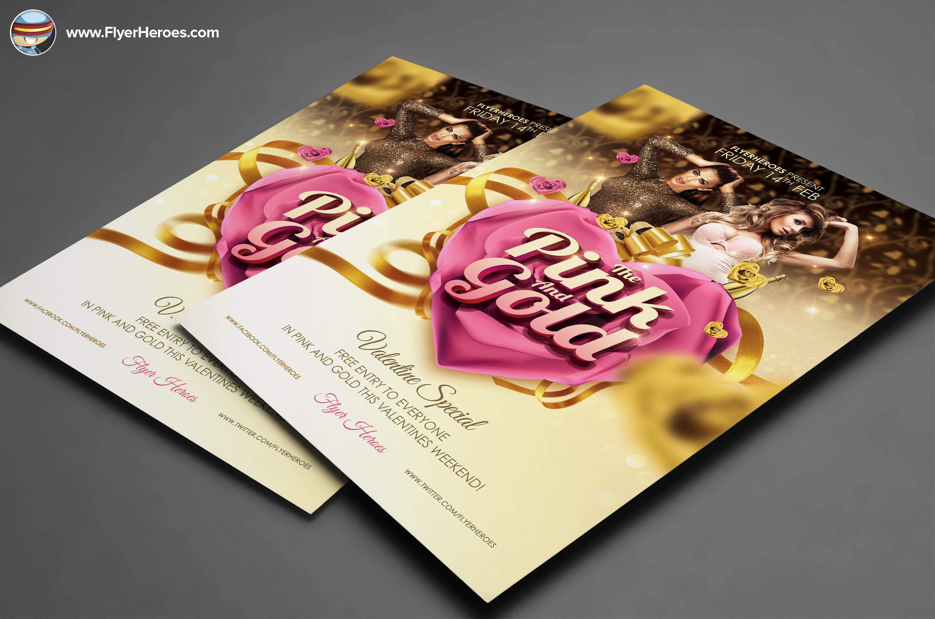 pink and gold valentines psd