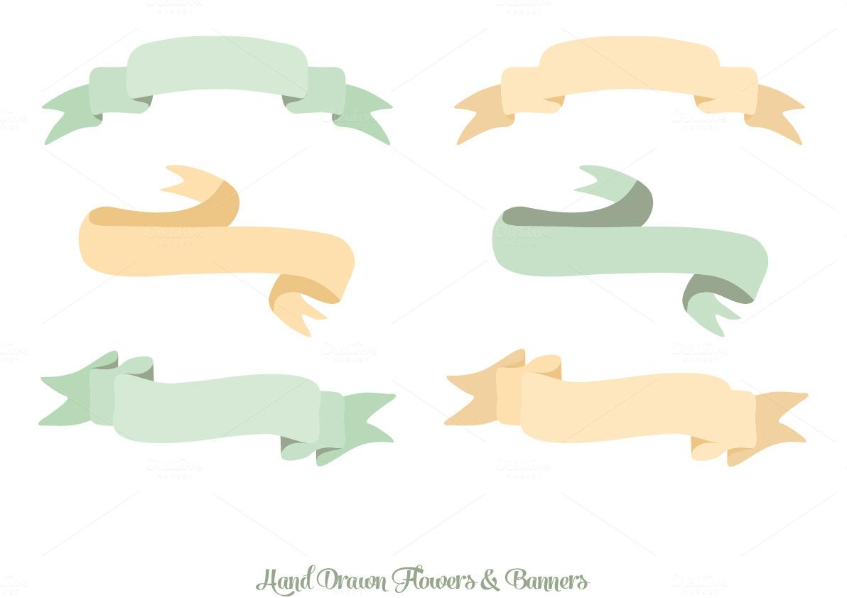 Hand Drawn Flowers u0026 Banners ~ Illustrations on Creative Market