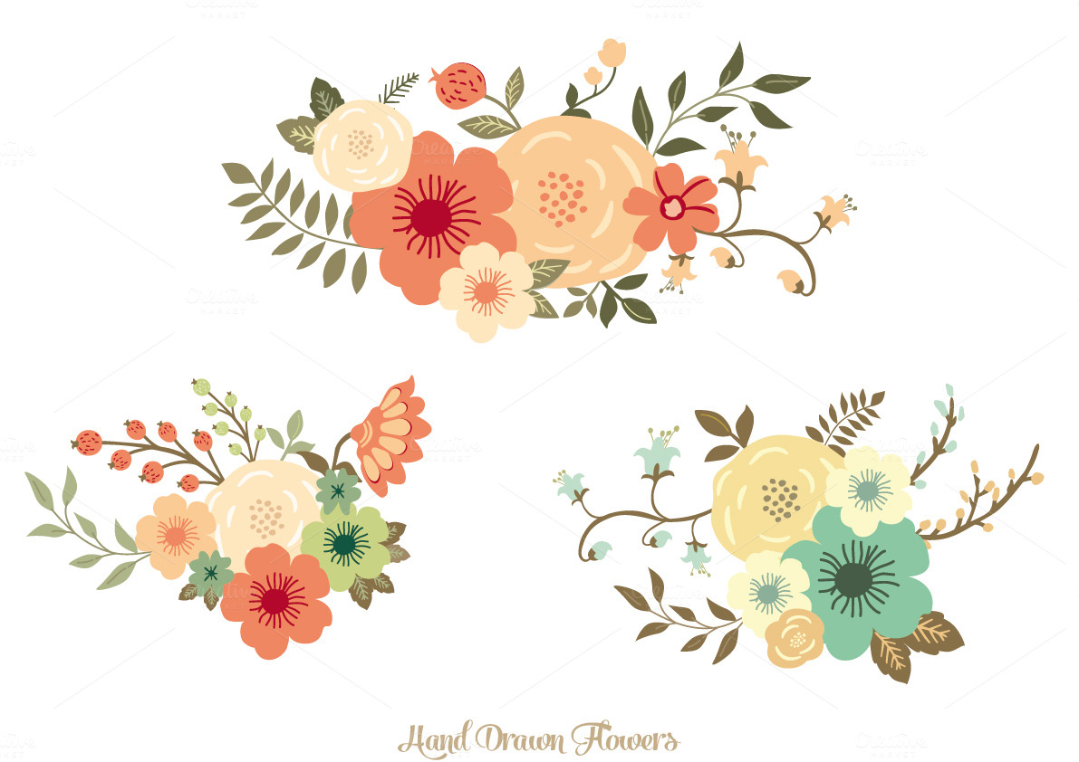 Hand Drawn Flowers Illustrations On Creative Market