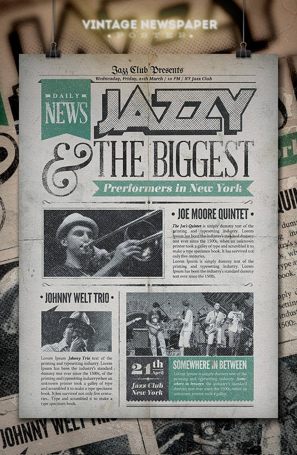 jazz vintage newspaper poster flyer templates on creative market. Black Bedroom Furniture Sets. Home Design Ideas