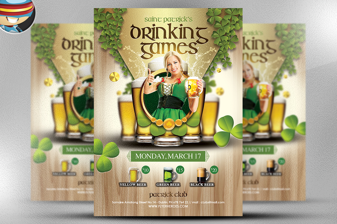 Drinking Games St Patricks Day Flyer by FlyerHeroes