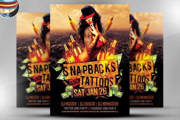 Snapbacks and Tattoos Flyer Template - Flyers - 1