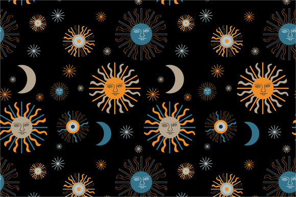 Seamless Pattern Quot Sun And Moon Quot Patterns On Creative Market