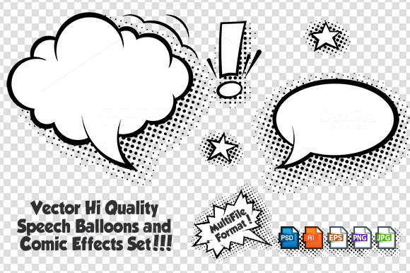 Comic Speech Bubbles Vector Set ~ Illustrations on