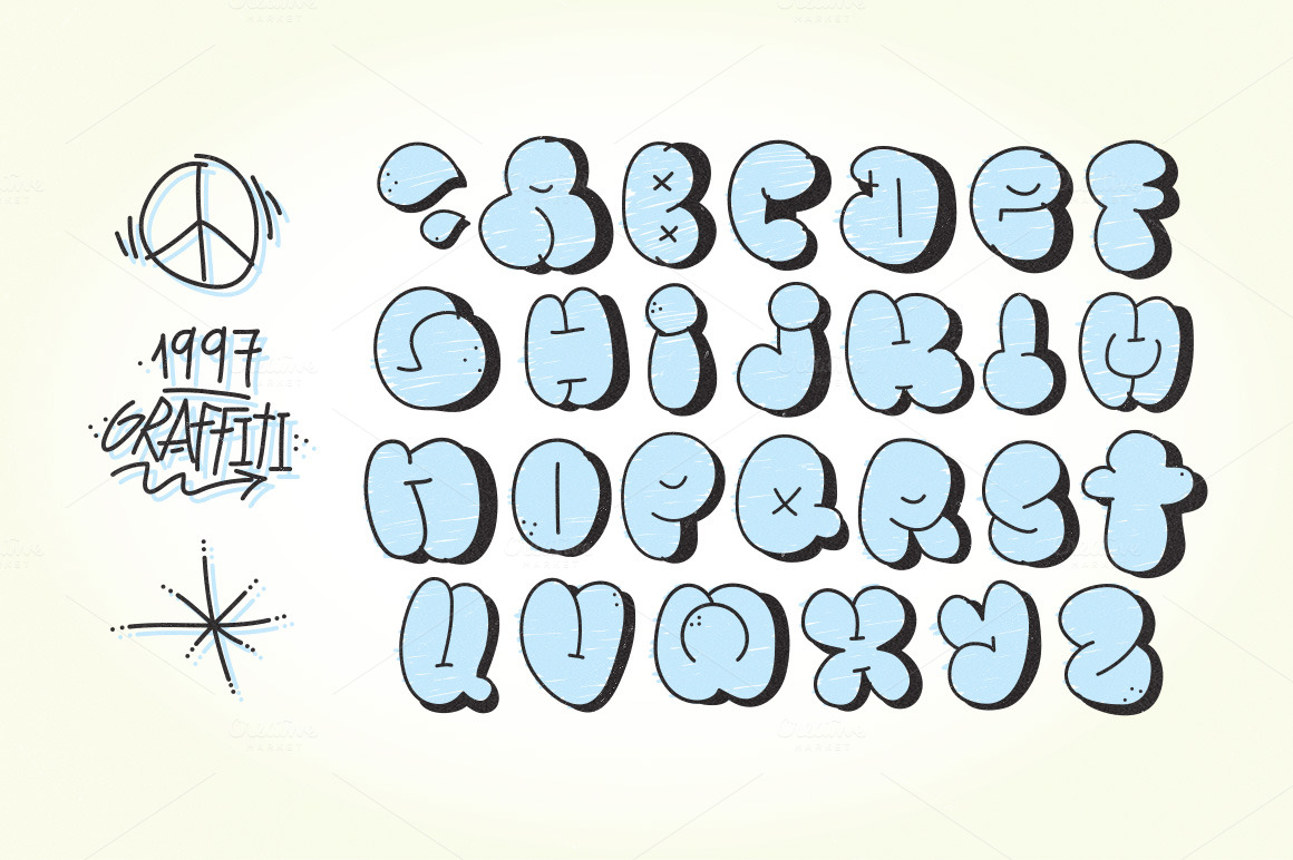 Old school graffiti letters ~ Objects on Creative Market