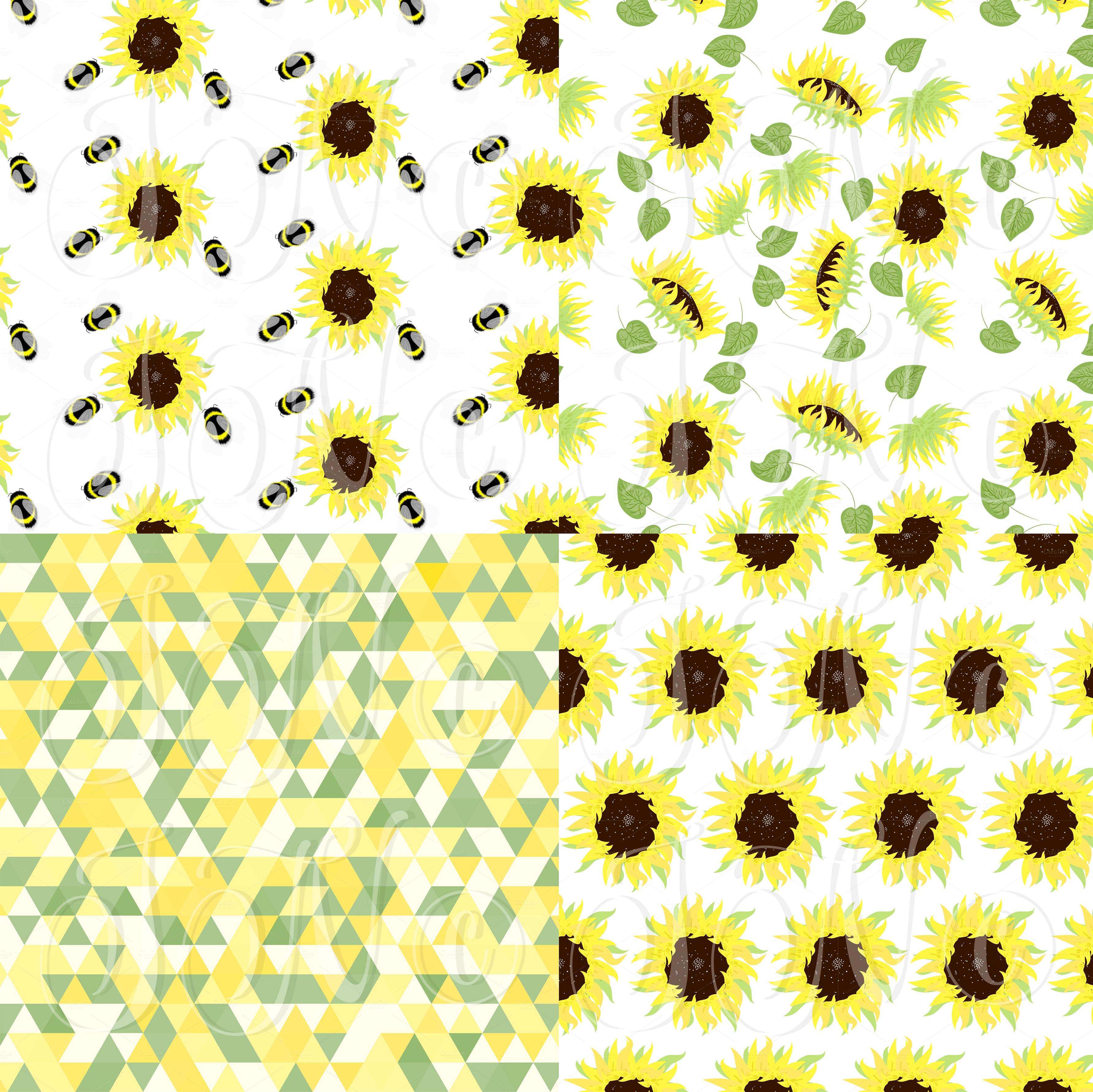 Sunflowers, Mason Jars,digital paper ~ Illustrations on ...
