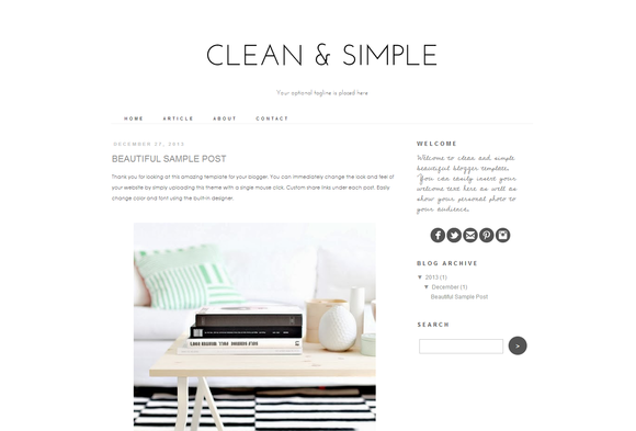 blogger template clean and simple themes on creative market. Black Bedroom Furniture Sets. Home Design Ideas