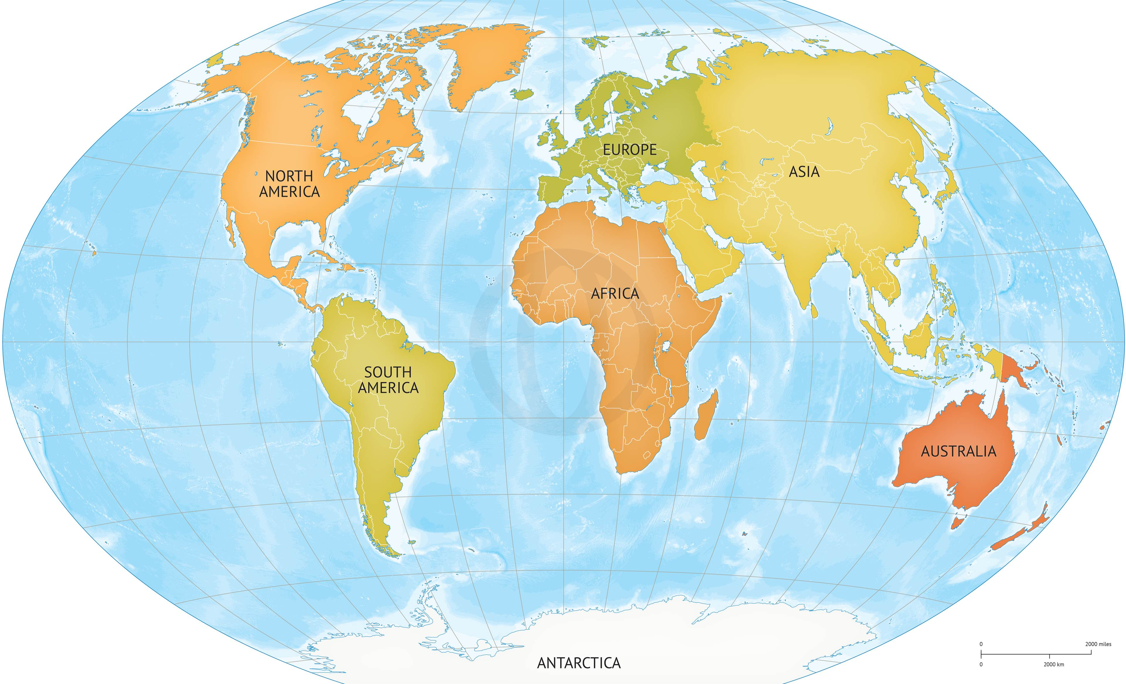 Vector map of world continents Graphics on Creative Market