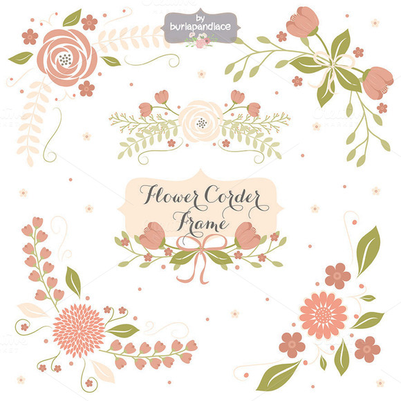 Watercolor hydrangea pattern vintage pink flowers shabby chic - Flower Corner Frame Clipart Illustrations On Creative