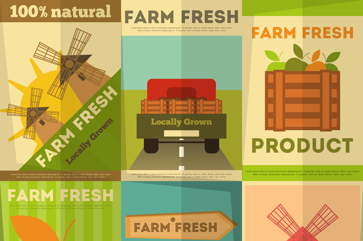 Set of Posters Farm Fresh Illustrations on Creative Market