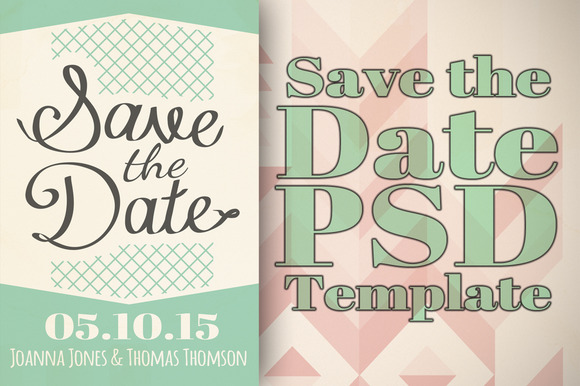 save the date template invitation templates on creative market. Black Bedroom Furniture Sets. Home Design Ideas