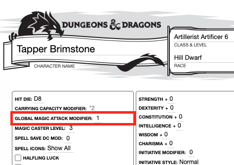 Community Forums Modifying Spell Attack Bonus With Item 5e Artificer Roll20 Online Virtual Tabletop Spell list, all 408 spells from all official d&d books, in an easily searchable table! modifying spell attack bonus
