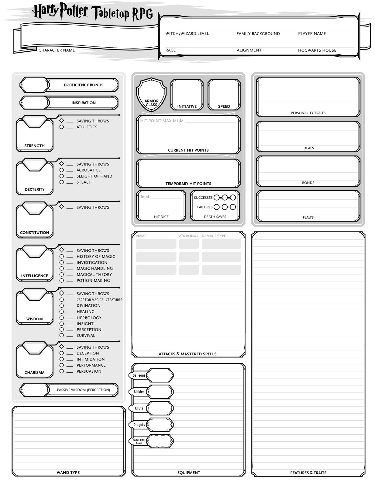 Community Forums Character Sheet Request Harry Potter Tabletop Rpg Version 4 Roll20 Online Virtual Tabletop