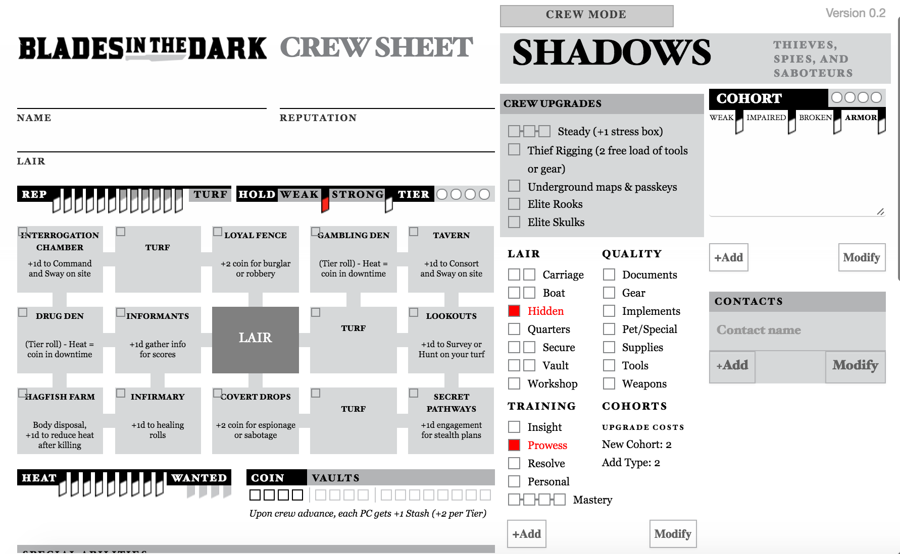 Community Forums: [Blades in the Dark] New styled sheet