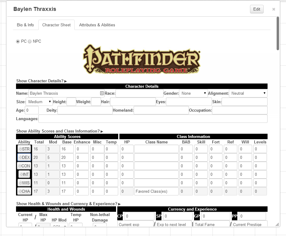Community Forums: Pathfinder sheet issues and suggestions | Roll20 ...
