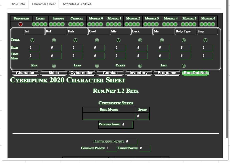 Community Forums: [Cyberpunk 2020] Character sheet background is