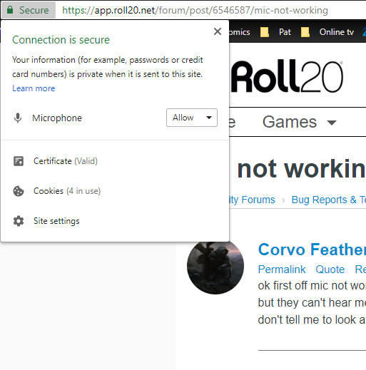 Community Forums: Mic not working | Roll20: Online virtual tabletop