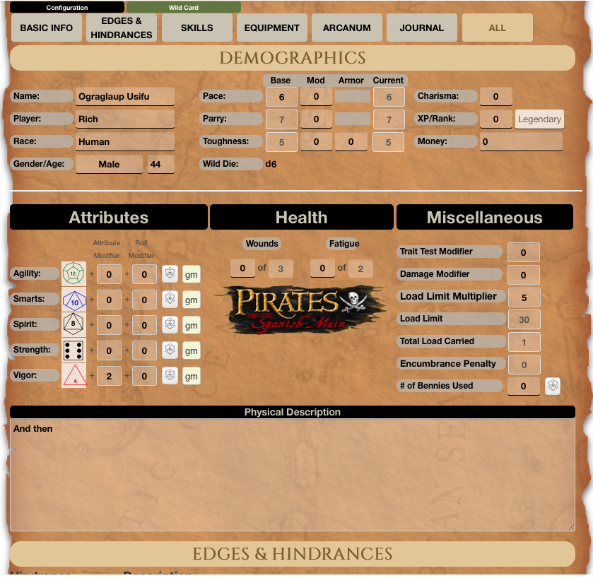 Community Forums: Savage Worlds (Tabbed) Character Sheet Update ...