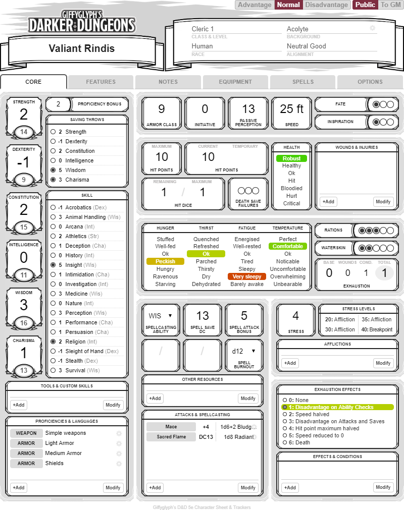 Game Of Love Sheets community forums: d&d 5e darker dungeons (character sheet v2