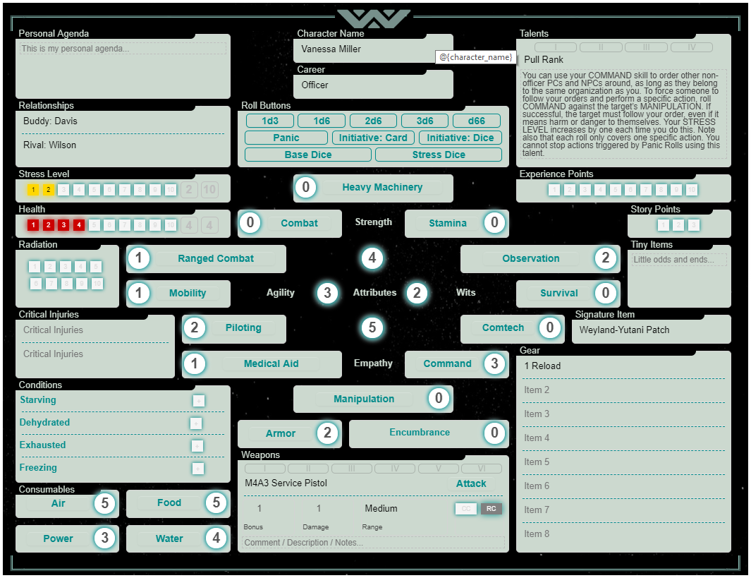 Game Of Love Sheets community forums: alien the roleplaying game character sheet