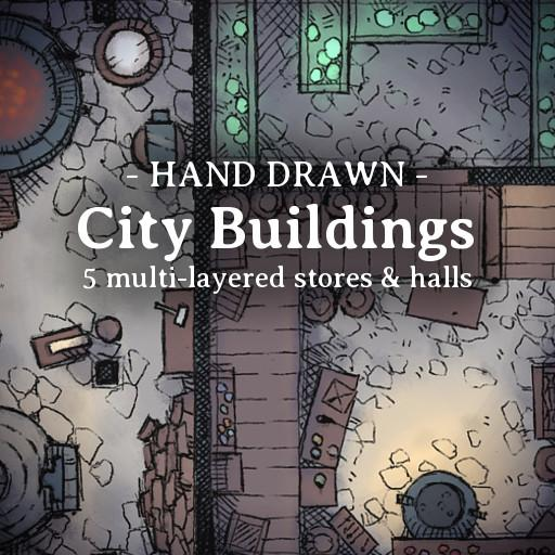 Hand Drawn City Buildings Pack 1
