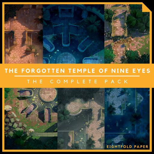 The Forgotten Temple of Nine Eyes [The Complete Pack] - Battlemap