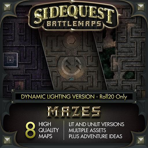 Sidequest Battlemaps: Mazes - Dynamic Lighting Version