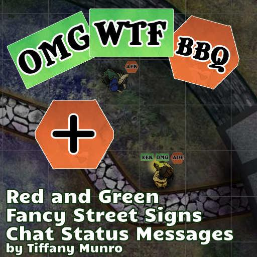 Green and Red Fancy Street Sign Chat Icons