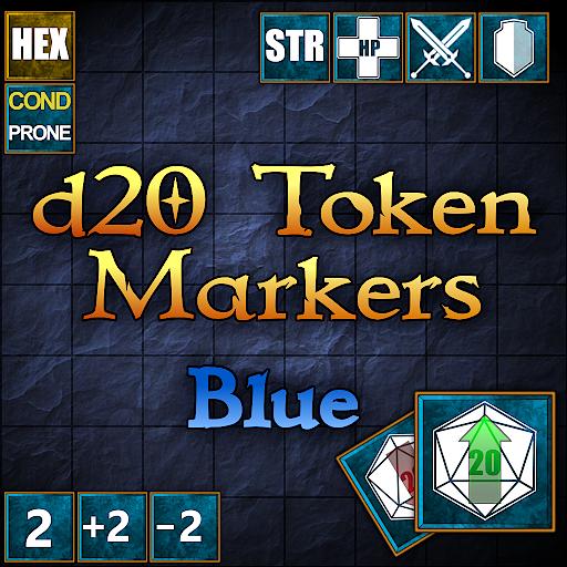 d20 Token Markers Blue