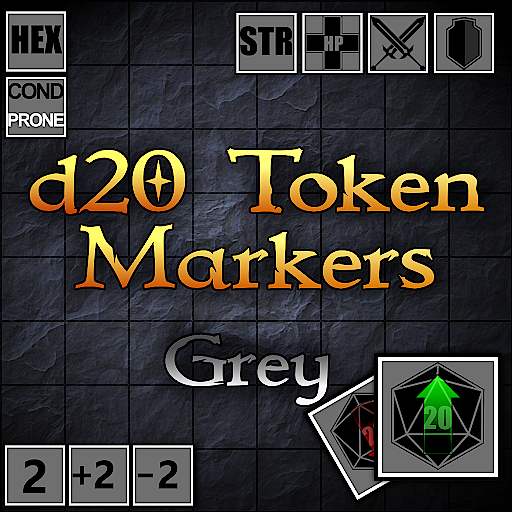 d20 Token Markers Grey