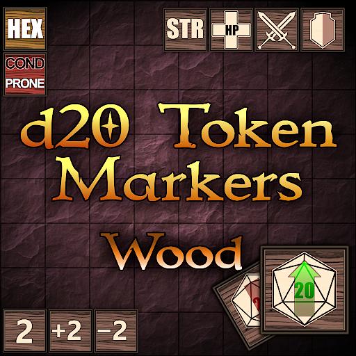 d20 Token Markers Wood