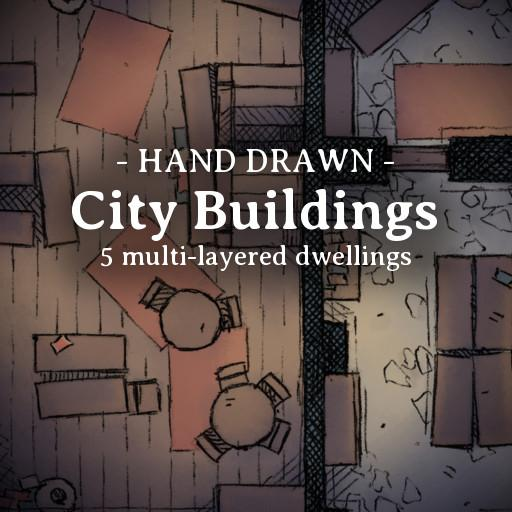 Hand Drawn City Buildings Pack 2