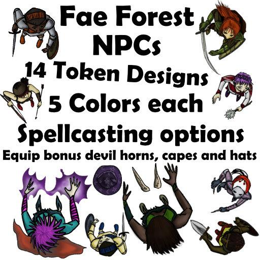Fae Forest Cartoon Guard and Spellcaster NPCs
