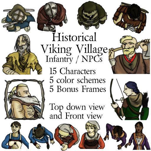 Historical Viking Village Infantry and NPC Tokens