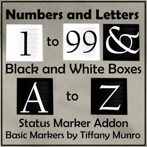 Black and White Squares A-Z 1-100 Status Markers Game Addon