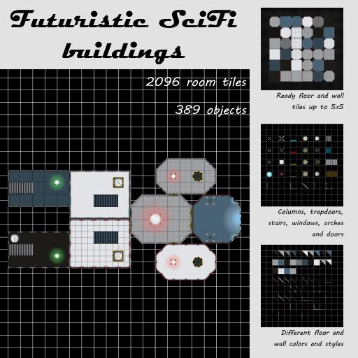 Futuristic SciFi room tiles and objects