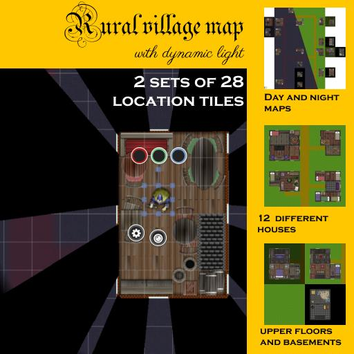 Rural village map with dynamic light