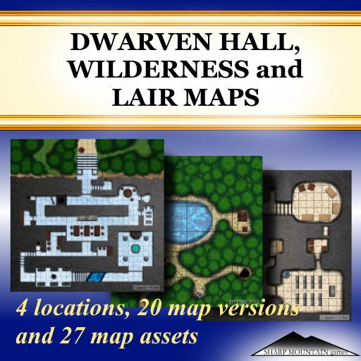 DWARVEN HALL, WILDERNESS, and LAIR MAPS