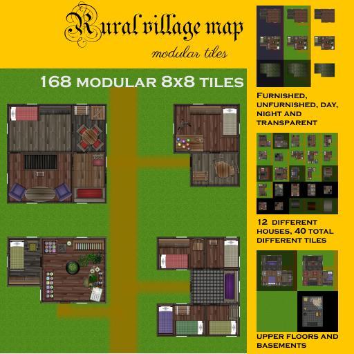Rural village map modular tiles