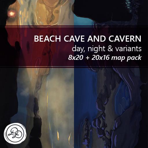 Beach Cave and Cavern Battlemaps