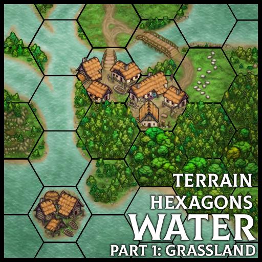 Terrain Hexagons: Water (Grassland)
