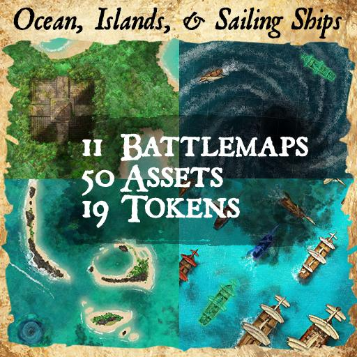 Ocean, Islands, and Ships Maps & Assets