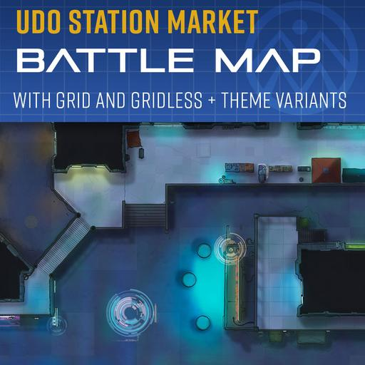 Udo Station Market - Sci-Fi Bazaar Battle Map