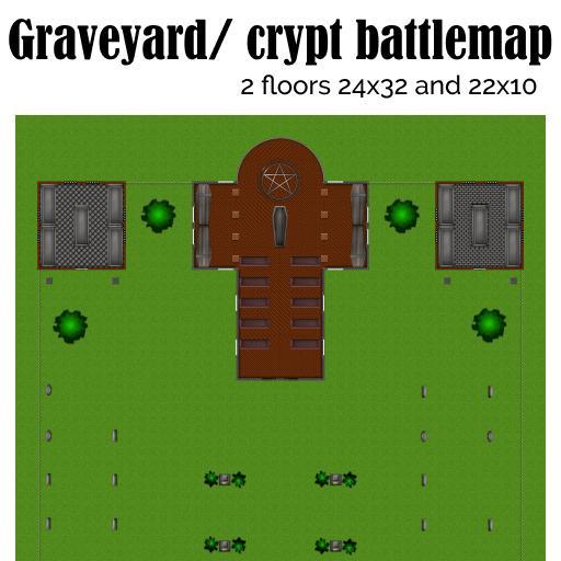 Graveyard/ crypt fantasy battlemap